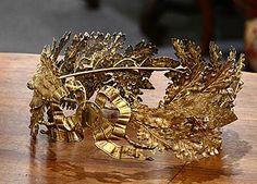 French Antique Brass Laurel Wreath Crown
