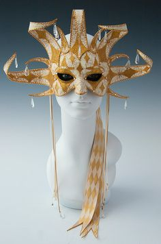 WhiteGold Jester half mask by TheArtOfTheMask on Etsy, $295.00