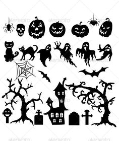 Set of Halloween Silhouettes - Halloween Seasons/Holidays