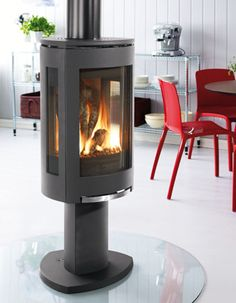 Interesting... Free-standing gas fireplace.