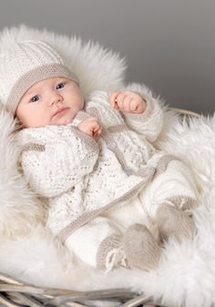 Lekkert Babysett i beige og hvit