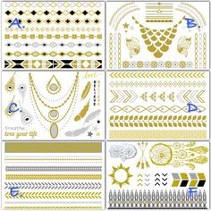 PWB9907 - Metallic flash tattoo - 6 sheets - $35.99 : Shop Trendy Jewelry and Accessories, Peeny Wallie Boutique