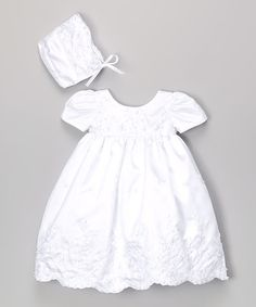 Look what I found on #zulily! White Beaded Baptism Dress & Bonnet - Infant by Fouger for Kids #zulilyfinds