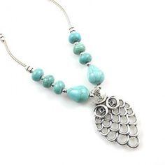 Owl Carving Necklace Tibetan Silver