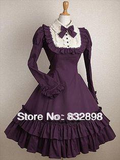 Klassische Günstige Purpl Mit Langen Ärmeln Rüschen Baumwolle Klasse Kleid