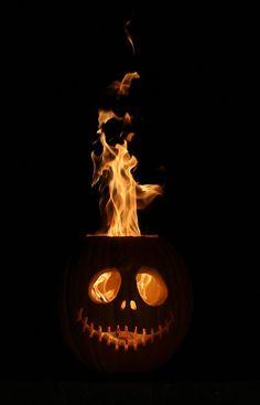Whoa! Flaming fire Jack Skellington pumpkin jack o' lantern. Super favorite. I think Danny Elfman would be proud…