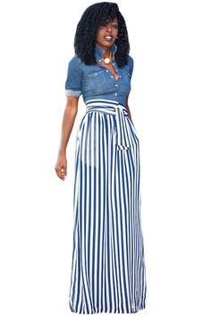 7dabc9d19d Light Blue Striped Maxi Skirt. Falda Larga De Rayas