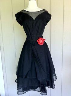 1950's Black Silk Organza Sweet Heart Cocktail Dress