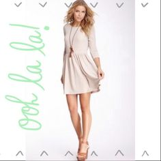 """Willow & Clay """"skater"""" style dress, new with tags! Super cute light blush/beige dress with flecks of silver. Deep scoop on the back of the dress, perfect for a party but comfortable enough for a dinner date! Size small, probably like a 4-6 willow & clay Dresses"""
