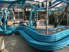 Bench made of tubing for electrical wires. design by Sebastien Wierinck
