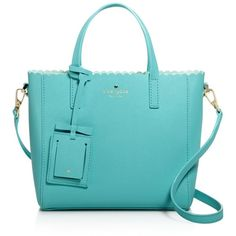 kate spade new york Cape Drive Margy Scallop Crossbody ($298) ❤ liked on Polyvore featuring bags, handbags, shoulder bags, soft aqua, crossbody handbags, kate spade, blue cross body purse, crossbody purse and bow crossbody purse