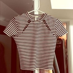 Urban Outfitters Black & White Striped Crop Top Super cute crop top purchased at Urban Outfitters. Only worn once. Size small. Cut out size tag because it was itchy. Questions welcome! Urban Outfitters Tops Crop Tops