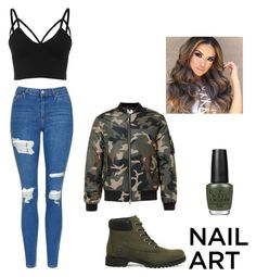 """""""No. 205"""" by jaed625 ❤ liked on Polyvore featuring Timberland, Topshop and OPI"""