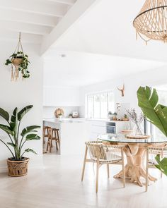 🌟Tante S!fr@ loves this📌🌟Featured in the boho beach house of Australian Interior Designer Alicia from We can't get enough of her beautiful white beach house interiors 🌴✨ . White Beach Houses, Style Deco, Boho Kitchen, White Coastal Kitchen, Kitchen Dining, Kitchen Island, Rattan Furniture, House Furniture, Furniture Outlet