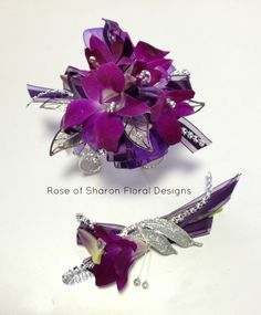 Bombay Orchid, with silver and black rinestones www.vannuysflowers.com
