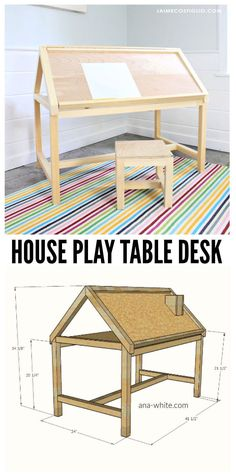 A DIY tutorial to build a kids size play table desk shaped like a house. Make this fun house play table complete with simple stool for your creative kids. #freeplans #kidsfurniture #kidsdesk #kidsstool