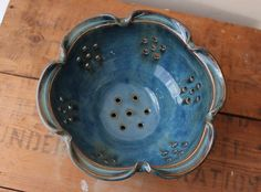 Tidal+Pool+Berry+Bowl+Blue+Colander+In+Stock+by+DandelionPottery,+$42.00