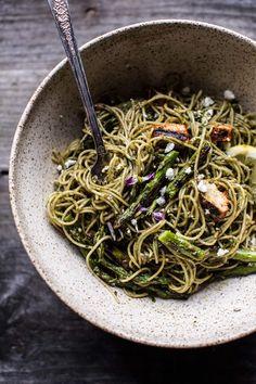 Charred Asparagus and Sunflower Seed Pesto Pasta with Blackened Lemon Chicken | halfbakedharvest.com @hbharvest