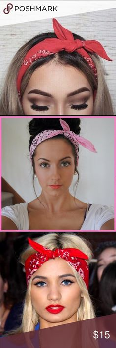 Bandana headband Red bandana that has so many ways to be used! My favorite  style e0e1a2ca040