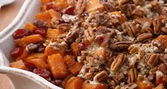 Roasted Sweet Potatoes with Cinnamon Pecan Crunch: A pecan-pie-inspired topping brings a festive twist to classic sweet potatoes.