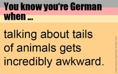 """we have the same word for tail and dick so if you talk about the """"schwanz"""" of a pet everyone always goes """"wait which one do you mean?"""""""