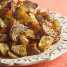 Roasted Harvest Vegetable Medley of carrots, onions, parsnips and squash gets a subtle sweet and spicy boost from nutmeg.