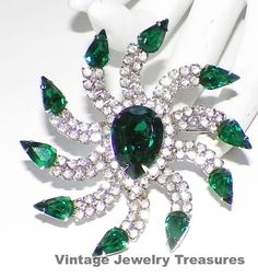 Vintage KRAMER Green & Clear Rhinestone Silver by basketcasedebra, $49.99