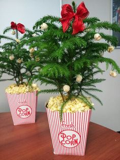 Movie themed popcorn Christmas trees