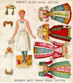 1880s advertising premium for sewing thread: paper dolls