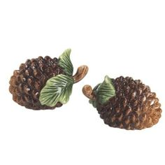 Woodlands Forest Evergreen Pine Cones Salt & Pepper Set S/P Andrea by Sadek by Sadek. $12.88. Made of porcelain, new in box. Woodlands Forest Evergreen Pine Cones Salt & Pepper Set S/P Andrea by Sadek. Measures approximately 3 inches x 2 inches x 2 inches. Pinecone salt and pepper shakers from J. Willfred Ceramics. The pinecone salt and pepper shakers are ideal for your holiday table or for collecting. Imported.