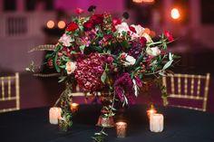 ruby red hydrangea centerpiece | Alisha Crossley