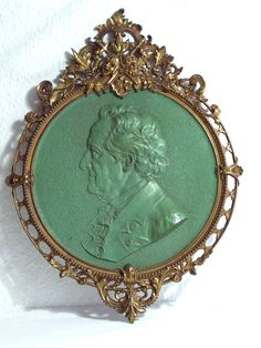 Bronzerelief Goethe Historismus Guss Bronze Bild Skulptur Kunst Art Jugendstil