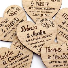 Save The Date Wooden Wedding Fridge Magnets Personalised Rustic Wood Oak Heart. These wedding magnets give the perfect 'rustic look' with the engraved double heart motif. Rustic Wedding Save The Dates, Different Font Styles, Personalised Wedding Invitations, Invites, Wood Invitation, Invitation Cards, Save The Date Magnets, Rustic Charm, Planer