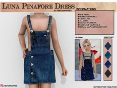 The Sims 4 Luna Pinafore Dress Sims 4 Toddler Clothes, Sims 4 Cc Kids Clothing, Sims 4 Mods Clothes, Los Sims 4 Mods, Sims 4 Game Mods, The Sims 4 Pc, Sims Cc, Sims Baby, Sims 4 Blog