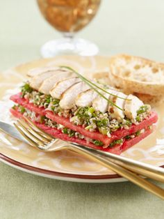 Watermelon Taboule Stacks with Grilled Chicken Recipe