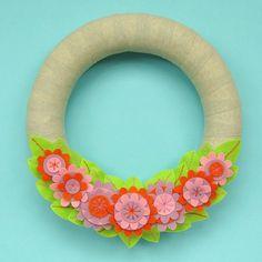 Felt Flower Wreath Tutorial by Laura Howard
