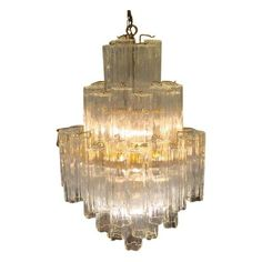 Image of Tronchi Glass Chandelier by Venini for Murano