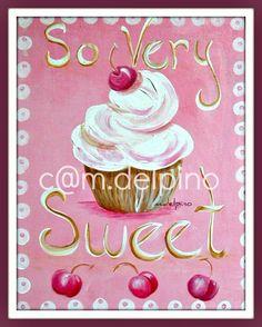 Pink Nursery Cupcake so sweet print little girl wall art baby girl bedroom kitchen bakery. $10.00, via Etsy.