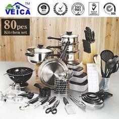 80 Piece Kitchen Starter Pots, Pans and Utensils Combo