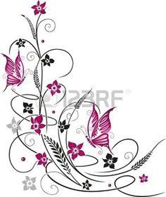 Fleurs color�es avec des papillons photo
