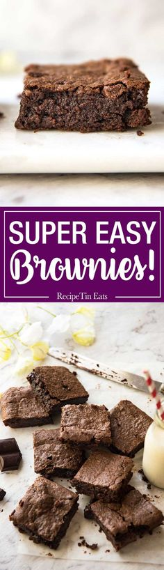 Easy Chocolate Brownies – 5 minutes is all it takes to make this batter for these fudgey, moist, very chocolatey brownies! Easy Desserts, Delicious Desserts, Dessert Recipes, Yummy Food, Cupcake Recipes, Best Brownies, Chocolate Brownies, Melted Chocolate, Chocolate Chips