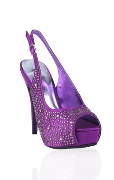 satin sling back pumps with rhinestones