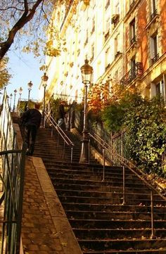 Autumn in Montmartre, Paris, France. Loved walking these steps many times in Paris! Montmartre Paris, Beautiful Places To Visit, Oh The Places You'll Go, Places To Travel, Paris France, Ville France, Paris Travel, Belle Photo, Around The Worlds