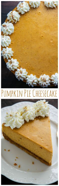 This is the BEST Pumpkin Pie Cheesecake! Rich, creamy, and loaded with real pumpkin flavor. Click through for the easy to follow recipe!