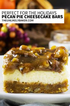 Pecan pie cheesecake bars are an easy, delicious holiday dessert. Wow your guests with creamy cheesecake on a pecan graham cracker crust with decadent caramel butter pecan pie topping. So easy to make! You can make it ahead too. Follow along with video instructions and step-by-step photos. #thanksgivingdessert #easycheesecake #pecanpiecheesecake #pecanpiedessert Holiday Baking, Christmas Desserts, Easy Desserts, Delicious Desserts, Layered Desserts, Thanksgiving Desserts, Fall Baking, Pecan Pie Cheesecake, Cheesecake Recipes