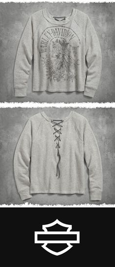 Here's a twist on the comfy French terry pullover – crisscross back lacing. | Harley-Davidson Women's Back Laced Pullover