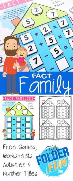 FREE Math Fact Family Worksheets | Fact families, Family houses and ...