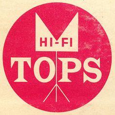 Hi-Fi Tops brand mark Vintage Graphic Design, Modern Logo Design, Retro Design, Record Label Logo, Dr Book, Film Logo, Kids Graphics, Brand Packaging, Album Covers