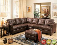 Contemporary 100% Bonded Leather Sectional Sofa Item Description This sleek contemporary bonded leather sectional sofa will provide a sophisticated style for your living room, family room or den. The plush, high tufted look backs and deep seat cushions will cradle you in comfort with enough space the whole family to lounge. Wide track arms and square tapered wood feet complete this modern look. This comfortable contemporary sectional sofa is sure to blend beautifully with your decor for a…