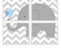 Elefant Kinderzimmer Art Chevron Vogel - Grau-hellblau - Print Set von 4 8 x 10 - Baby Boy Kinder Kind Zimmer - Wand Kunst Home Decor